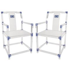 Pair of Blue and White Lucite Chairs by July Zhou