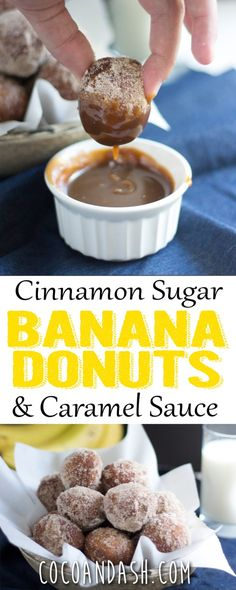 These banana donuts are coated in cinnamon sugar and have a caramel sauce that will knock your socks off!! Perfect for breakfast OR dessert!!