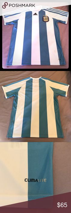 Authentic Adidas Argentina Home Jersey Sm (NWOT) Authentic Adidas Argentina Home Jersey. Size S. New without tags! Ventilated Climacool material keeps you cool & dry. Embroidered Argentine Football Association crest and Adidas logo. Get yours before the World Cup!  Offers accepted. No trades please. adidas Shirts