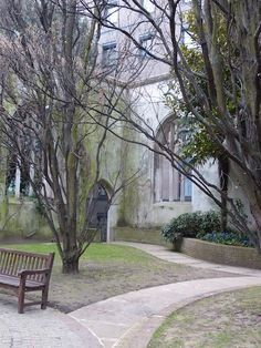 St. Dunstan Garden, London. Created from ruins of church damaged in WWII 1941 http://www.trailheadstudios.com/blog.html