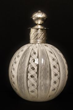 Antique White Murano Glass Perfume Bottle With Decorative Silver TOP | eBay