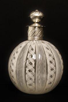Antique White Murano Glass Perfume Bottle With Decorative Silver TOP   eBay