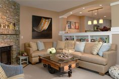 Homey Traditional Living & Family Room by Susan Fredman  on HomePortfolio - ceiling lighting