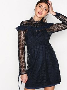 High Lace Neck Dress
