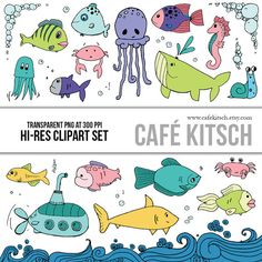 INSTANT DOWNLOAD  Fish Clipart Set  Hi Res Printable by CafeKitsch, $4.99