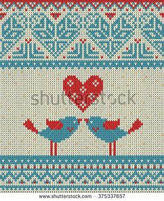Seamless pattern on the theme of Valentine's Day with an image of the Norwegian patterns and hearts. Figure showing kissing birds. Wool knitted texture. Illustration