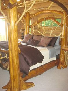 Log Furniture St Ignace cabin rental - Master bedroom featuring one of a kind king bed Rustic Log Furniture, Cool Furniture, Bedroom Furniture, Bedroom Decor, Master Bedroom, Cabin Furniture, Western Furniture, Nautical Bedroom, Furniture Design
