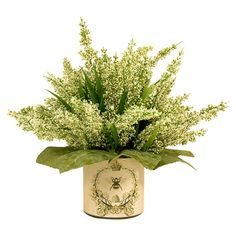 Featuring faux heather in a French-inspired pot, this lovely arrangement brings a touch of natural style to your decor.
