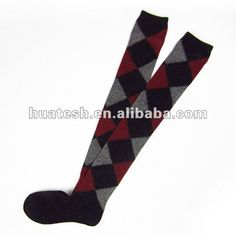 Wool Knee High Socks With Argyle Pattern For Lady And Men $0.8~$1.2