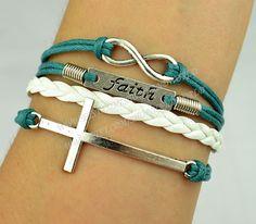 Infinity Wish Bracelet Faith Bracelet Cross Bracleet by handworld, $5.29