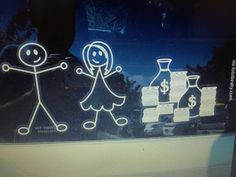 Childless Window Decal With Money Bags