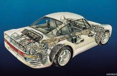 Porsche 959 Racutaway Poster Standup 4inx6in