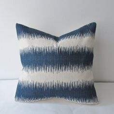 PAIR Navy Ikat Pillow Cover 18x18 20x20 by IndigoBlissBoutique