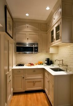 Pied à terre kitchen ~ 2 burner glass cooktop, microwave/oven, 2 drawer refrigerator, sink, cabinets to the ceiling for lots of storage ~ all you need ~  boston - Renovation Planning,LLC ~ worth clicking through to Houzz for large photo ~