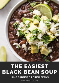 Mexican food recipes 527484175108610171 - This Easy Black Bean Soup Recipe is made with canned black beans, tomatoes, onions, garlic and a blend of simple spices. It's a healthy vegetarian and vegan meal that will satisfy everyone! Source by isabeleats Bean Soup Recipes, Healthy Soup Recipes, Mexican Food Recipes, Whole Food Recipes, Vegetarian Recipes, Cooking Recipes, Blended Soup Recipes, Healthy Beans, Black Bean Recipes