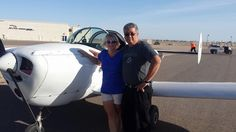 Desert Aero Club flight instructor Ms. Kellie Priessman and her student Rich going up in the Ercoupe for a flight lesson