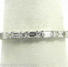 Ladies 18k White Gold .75 Ct. Round  Baguette Diamond Eternity Wedding Band   Bright Jewelers