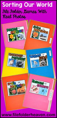 Stock up your science centers with 20 unique file folder games. These sorting file folder games use real photos that brings nature to life.  There are many concepts to sort!  Plants and Animals, Living and Non-Living, Mammals and Reptiles, Water and Land Animals, and Fruits and Vegetables to name a few!