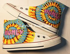 "Steven Fernandez Tie die ""Honey"" Hand Painted High Top Shoes Uni"