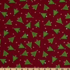 Ho Ho Ho Christmas Trees Red from @fabricdotcom  This fabric is perfect for quilting projects, craft projects and table top decorations. Colors include white and green on a red background.