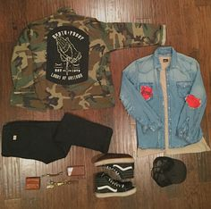 Torn and tattered biker grunge. Denim and camo.