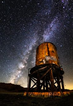Milky Water: Milky Way and Old Railroad Water Tower In Dos Cabezas, California. Part of Anza-Borrego Desert State Park. Photo by slworking2. Source Flickr.com