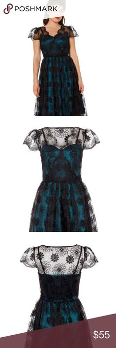 Voodoo Vixen Dress Blue & Black Dress. NWT, never been worn perfect for upcoming holidays or special occasions. Voodoo Vixen Dresses Midi