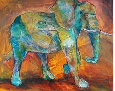"""Daily Paintworks - """"Spirit Elephant"""" - Original Fine Art for Sale - © Becky Chappell"""