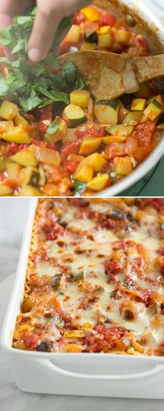 Tender vegetables, a light tomato sauce and lots of cheese make this vegetable lasagna recipe one of our favorites. From inspiredtaste.net | @inspiredtaste