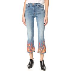 MOTHER The Insider Crop Fray Jeans ($268) ❤ liked on Polyvore featuring jeans, zipper jeans, mother jeans, cropped jeans, blue jeans and 5 pocket jeans