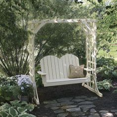 freestanding porch swing with lattice support for front porch
