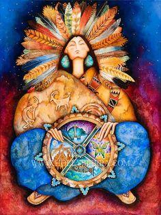 Nahimana diosa nativa de la rueda de la por HollySierraArt en Etsy