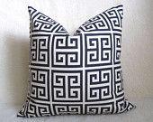 Decorative Ikat Chevron Pillow - Navy Blue - 18 inch - Ikat Pillow - Linen Pillow - Toss Pillow - Accent Pillow - Throw   Jacks bed