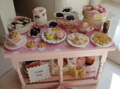 1:12 scale // Miniature cookie swap table with lots of cookies by Kimsminibakery