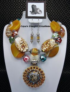 Golden Amber Yellow Chunky Bold Cowgirl by CayaCowgirlCreations, $62.50