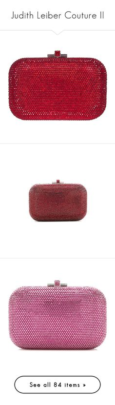 """Judith Leiber Couture II"" by snugget9530 ❤ liked on Polyvore featuring bags, handbags, clutches, purses, judith leiber, bolsas, silver siam, red handbags, handbag purse and judith leiber clutches"