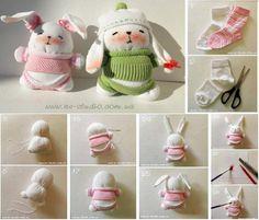 DIY sock bunny--> http://wonderfuldiy.com/wonderful-diy-adorable-sock-monkey/ #diy #crafts #sockanimals