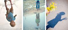 Door foto's te nemen van reflecties kan je een hele originele touch geven aan je communikaartjes. Experimenteer met verschillende invalshoeken na een regenbui, aan een meer of de kust.**