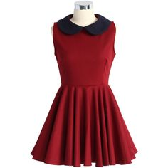 c4b4f78364c16 Chicwish Contrast Peter Pan Collar Skater Dress in Wine ( 45) ❤ liked on  Polyvore