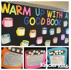 KinderKids: Warm Up Reading Bulletin Boards, Winter Bulletin Boards, Bulletin Board Display, Classroom Bulletin Boards, Classroom Door, Classroom Displays, Classroom Ideas, Preschool Bulletin, Future Classroom