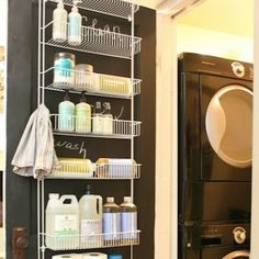 Never would have thought to use a shower caddy on the door.  Great way for easy access on everyday items and out of little hands reach.