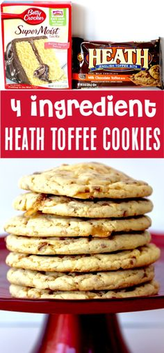 {Just 4 Ingredients} Cake Mix Cookies Recipes Easy Yellow Heath Toffee Cookie Recipe! Just 4 ingredients and you've got the easiest, tastiest cookie ever! Go grab the recipe and give it a try this week! Toffee Cookie Recipe, Toffee Cookies, Cake Mix Cookie Recipes, Easy Cheesecake Recipes, Chocolate Cookie Recipes, Yummy Cookies, Dessert Recipes, Toffee Bars, Cake Like Cookies Recipe