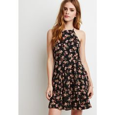 Forever 21 Women's  Lace-Paneled Floral Print Dress ($23) ❤ liked on Polyvore featuring dresses, long dresses, short dresses, long cami, floral cami and floral dress