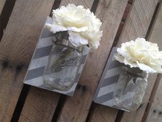 Striped Mason Jar Wall Decor,YOU PICK COLOR,Mason Jar Wall Decor,Wall Hanger,Rustic Home,Shabby Chic Rustic Wall Decor,Mason Jar Wall Sconce by LacyBellesBoutique on Etsy https://www.etsy.com/listing/199854214/striped-mason-jar-wall-decoryou-pick