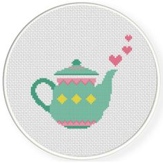 FREE for August 9th 2016 Only - Pretty Teapot Cross Stitch Pattern