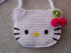 uploaded this image to & See the album on Photobucket. Hello Kitty Amigurumi, Crochet Hello Kitty, Chat Hello Kitty, Hello Kitty Purse, Crochet Eyes, Crochet Baby Beanie, Crochet Motifs, Crochet Stitches Patterns, Knitting Patterns