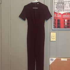 Burgundy jumpsuit NEVER WORN Burgundy jumpsuit with deep plunge from urban outfitters that has never been worn brand is silence and noise Urban Outfitters Other