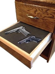 nights stand with hidden compartments to hide guns and valuables Hidden Gun Storage, Secret Storage, Secret Compartment Furniture, Hidden Weapons, Secret Hiding Places, Hidden Spaces, Gun Rooms, Hidden Compartments, Gun Cases