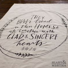 """Acts 2:46 Tea Towel 25"""" W x 29 1/4"""" L Whether you use them for drying dishes, as table napkins, packing a basket, or a lovely gift, this tea towel shares a beautiful message of God's grace & our gratitude. Message reads, They broke bread in their homes & ate together with glad and sincere hearts. Acts 2:46 Size: 25""""W x29 1/4""""L. 86% Cotton, 14% linen. Machine wash cold, tumble dry on low. Price: $22.00 http://www.mymaryandmartha.com/shop/productdetail.aspx?prod=60115"""