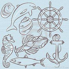 Set of  summer symbols, ship rudder,anchor, shells, lobster,dolphin on a blue  grunge background, vector illustration.